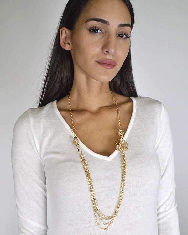 Twisted Metallic Trims Curb Chain Necklace