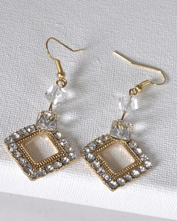 Crystal Studded Rhombus Shaped Earrings with Fishhook