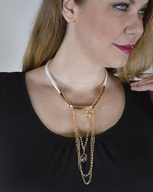 Crystal and Rolo Chain Embellished Necklace