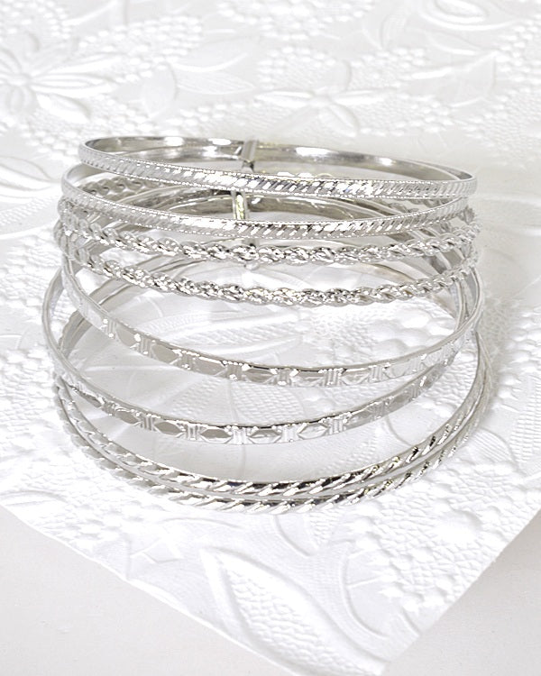 Set of 8 Textured Bangle Bracelets