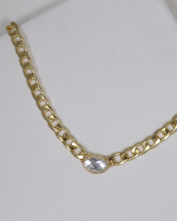 Crystal Embellished Curb Chain