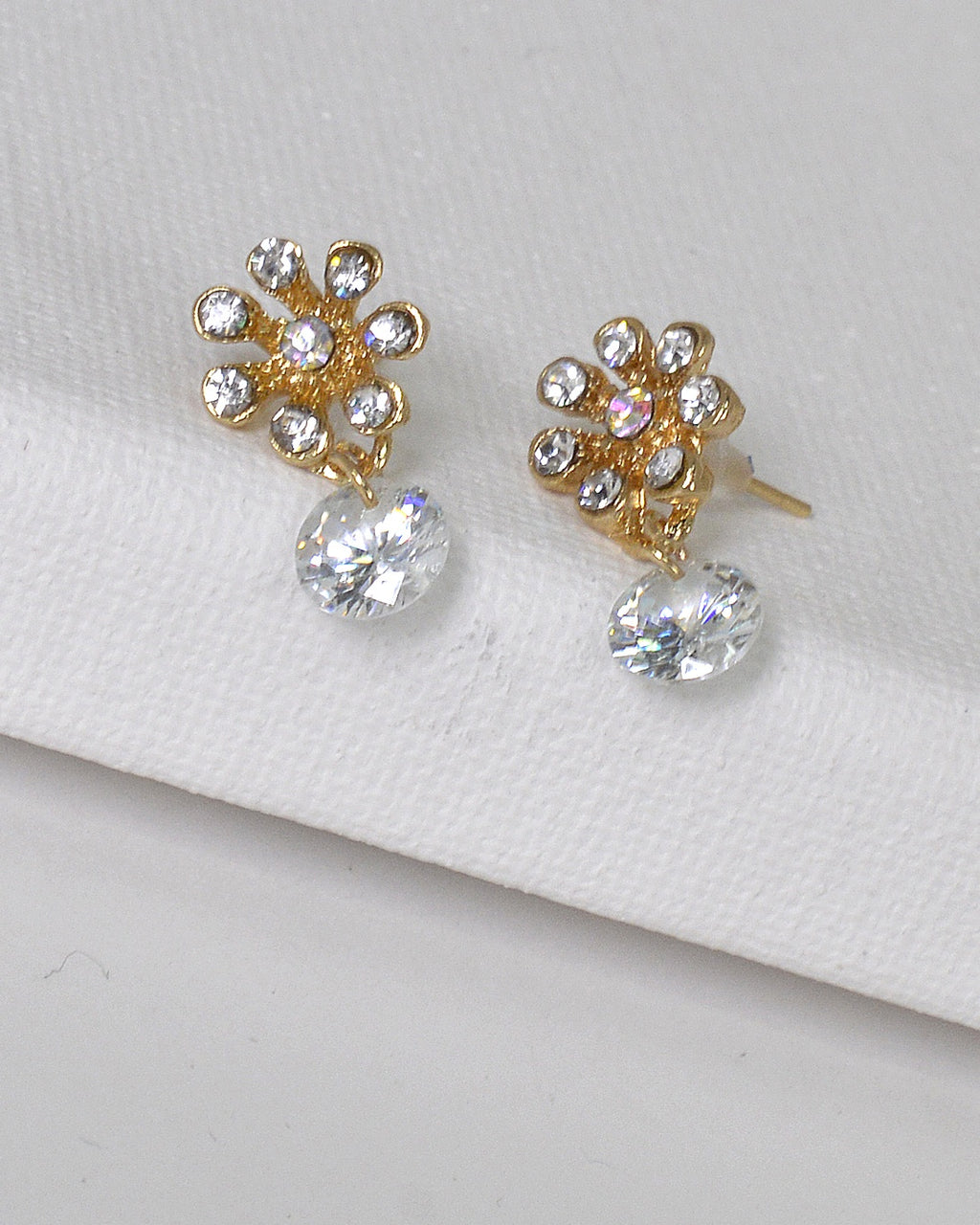 Rhinestone Embellished Floral Design Drop Earrings