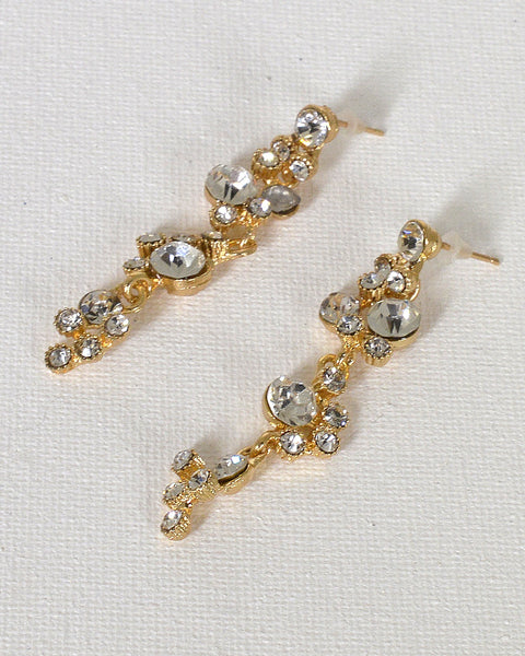 Crystal Studded Drop Earrings with Post Back Closure