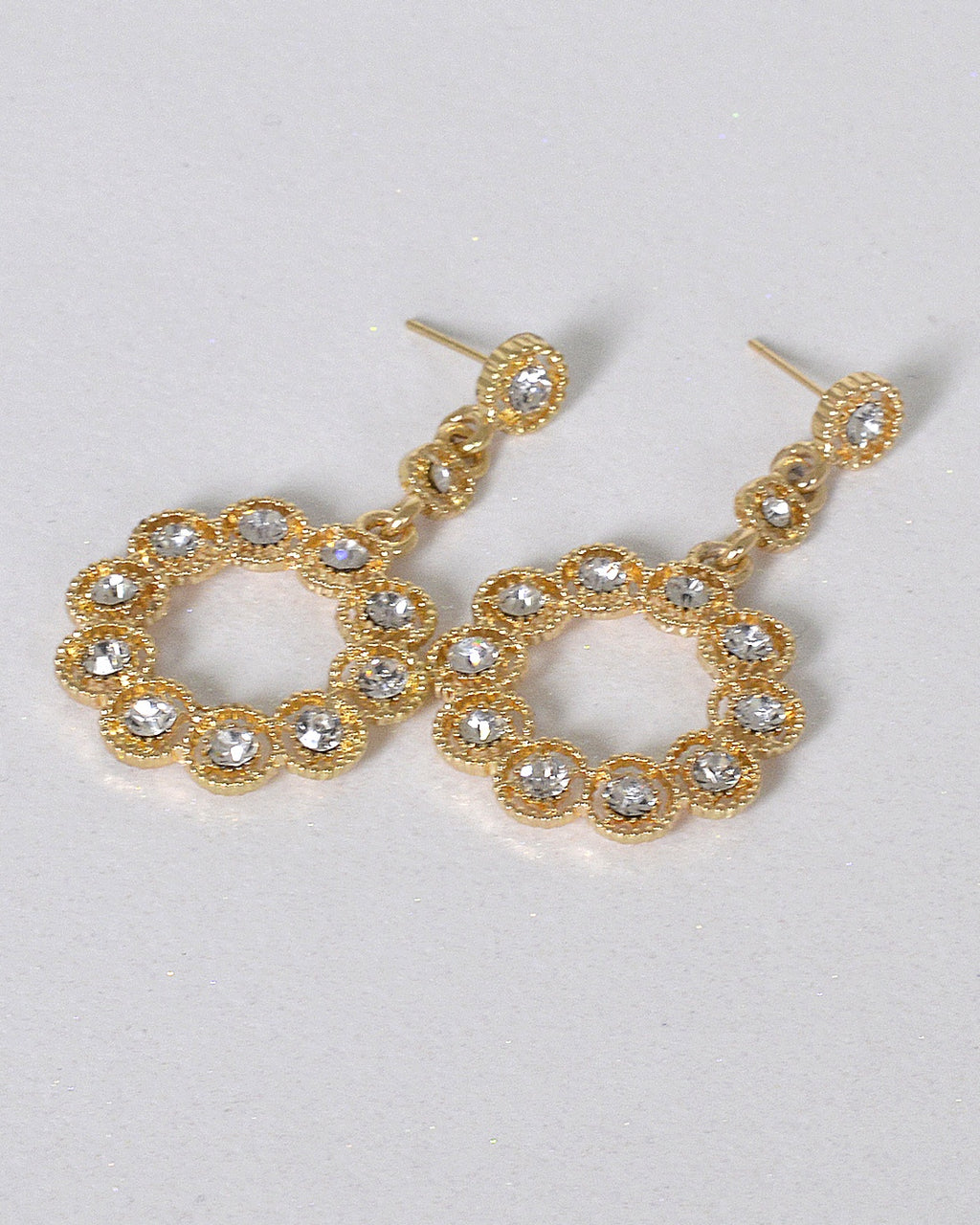 Stylish Ring Design Crystal Studded Drop Earrings