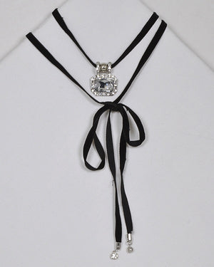 Crystal and Rhinestone Pendant Embellished Tie Up Choker Necklace