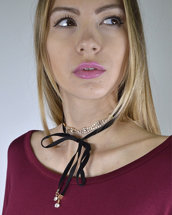 Layered Rhinestone Detailing and Tie Up Pattern Choker Necklace