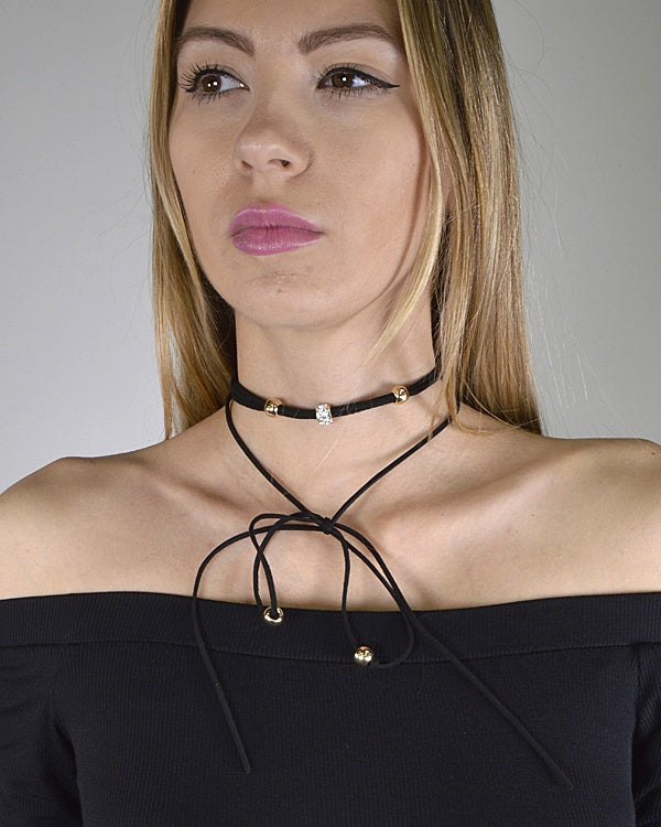 Layered Bead Embellished Tie Up Pattern Choker Necklace