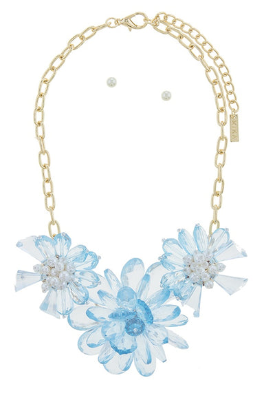 Clustered faux pearl flower statement necklace set