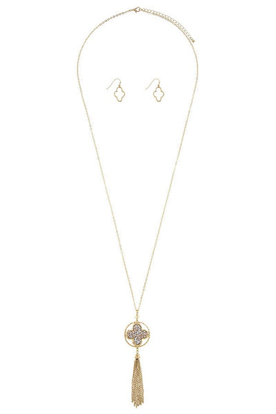 Chain tassel druzy quatrefoil necklace set