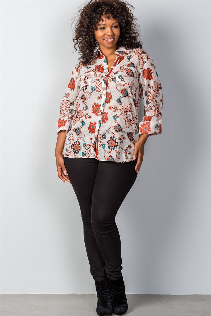 Ladies fashion plus size multi mix printed roll-sleeve plus size top