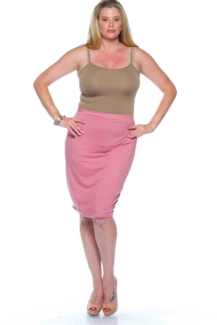 Ladies fashion plus size pink midi bodycon skirt