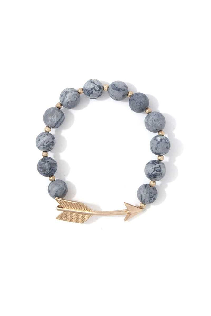 Arrow Charm Beaded Stretch Bracelet