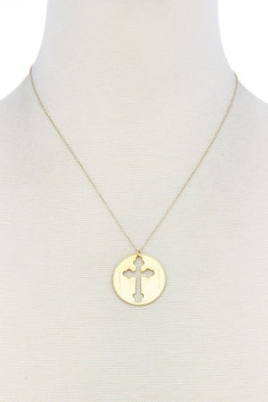 Chic Cross Coin Pendant Necklace
