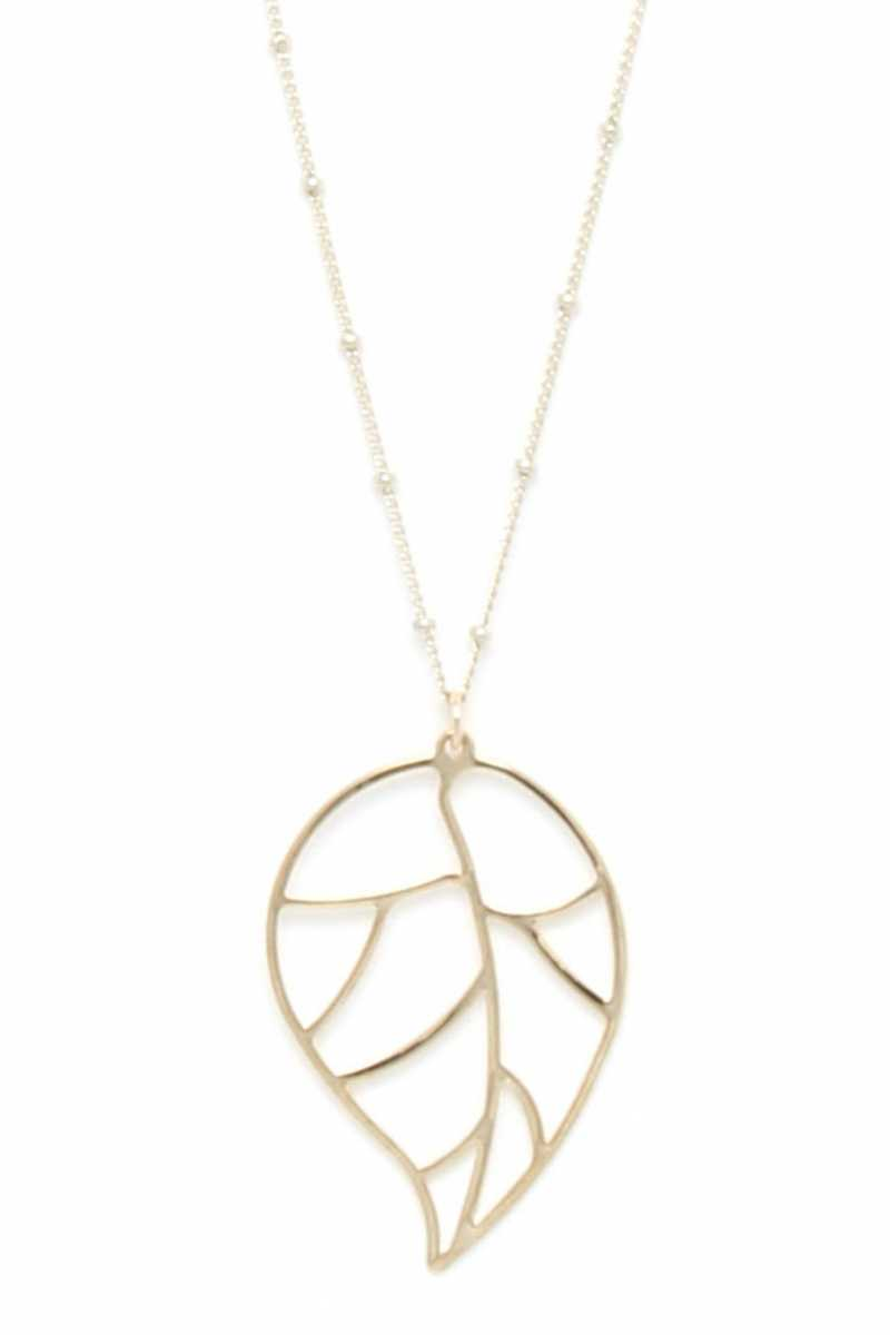 Cutout Metal Leaf Pendant Necklace
