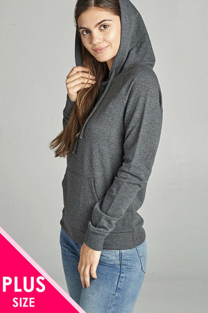 Long Sleeve Pullover French Terry Hoodie Top W/ Kangaroo Pocket