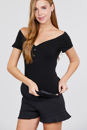 Short Sleeve Off The Shoulder Button Down Heavy Rib Rayon Spandex Knit Bodysuit