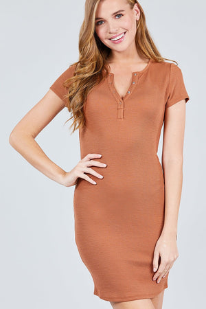 Short Sleeve Henley Mini Knit Dress