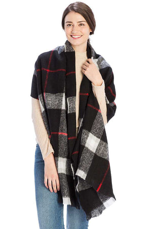 Checker Plaid Pattern Scarf