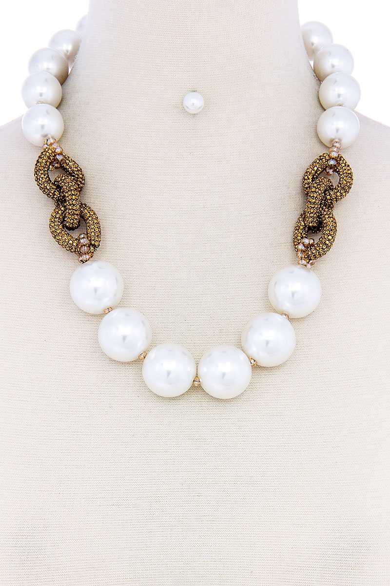 Chic Large Pearl Bead Necklace And Earring Set