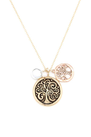 Oak Tree Charm Metal Necklace