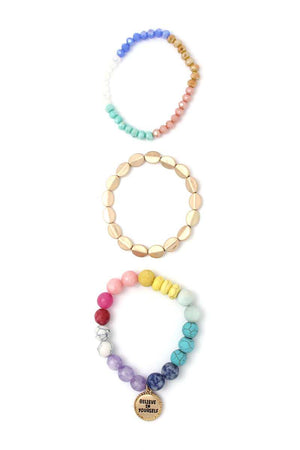 Believe In Yourself Multi Color Beaded Stretch Bracelet