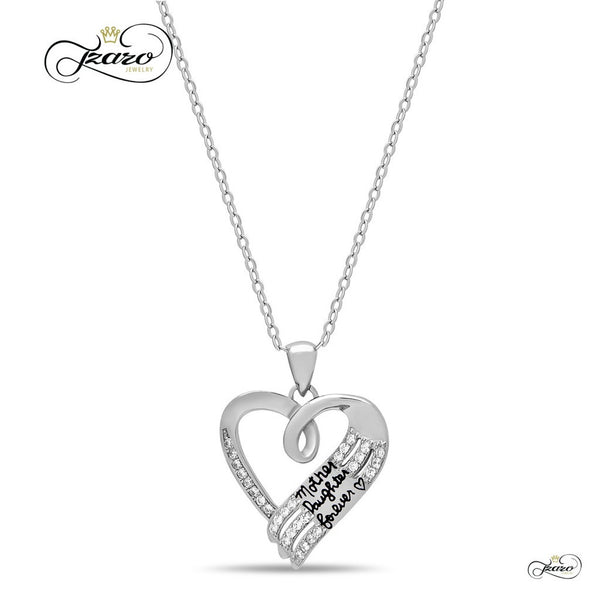 Elegant Mother Daughter Necklace, 925 Sterling Silver, Silver Plated Heart Necklace