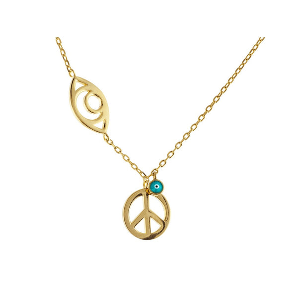 "Spiritual Gold Evil Eye & Peace Sterling Silver Chain Necklace for Women, 15"" + 2"""