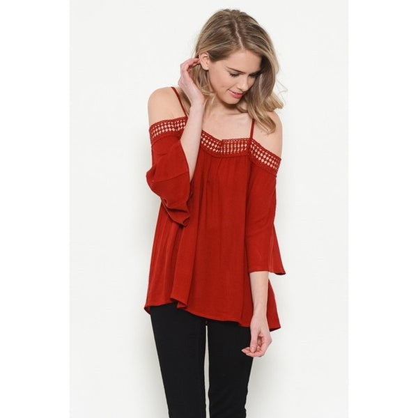 Lace Trim Open Shoulder Top