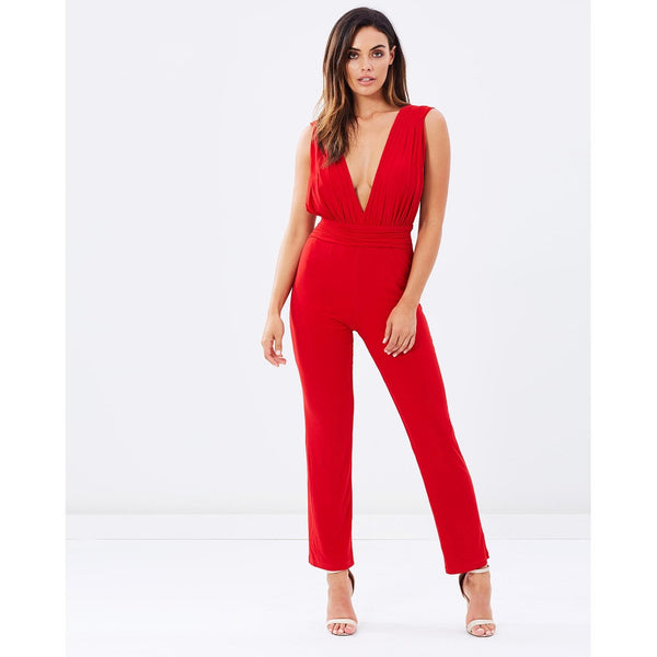 V-Neck Jumpsuit - Red