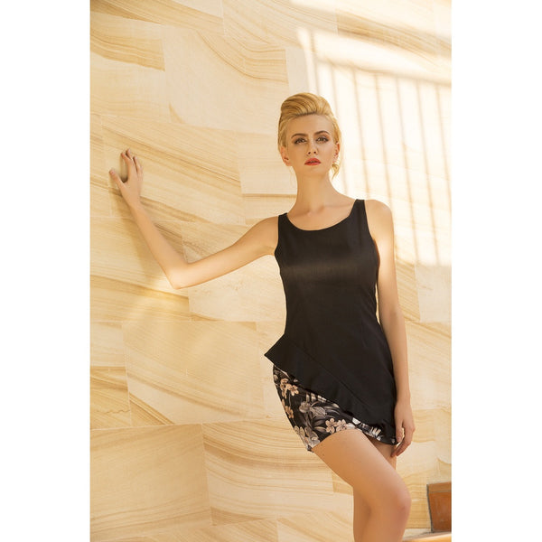 Moon rise ruffle mini dress in Black