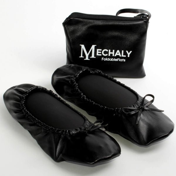 Mechaly Women's Black Vegan Leather Foldable Flats