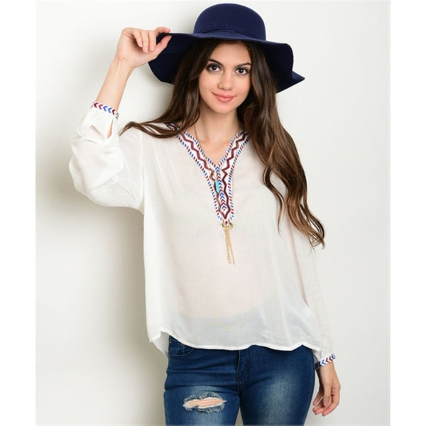 Women's Top Long Sleeve Off White Embroidered Blouse