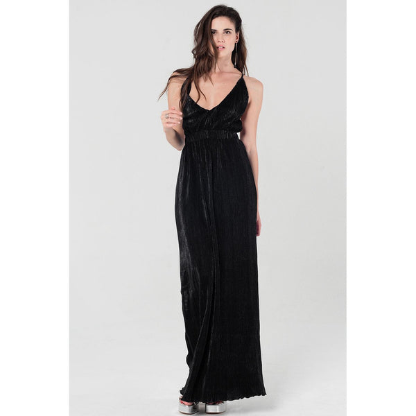 Pleated maxi dress in black with crossed back