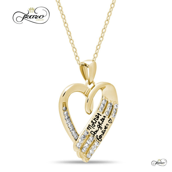 Elegant Mother Daughter Necklace, 925 Sterling Silver, 14K Gold Plated Heart Necklace