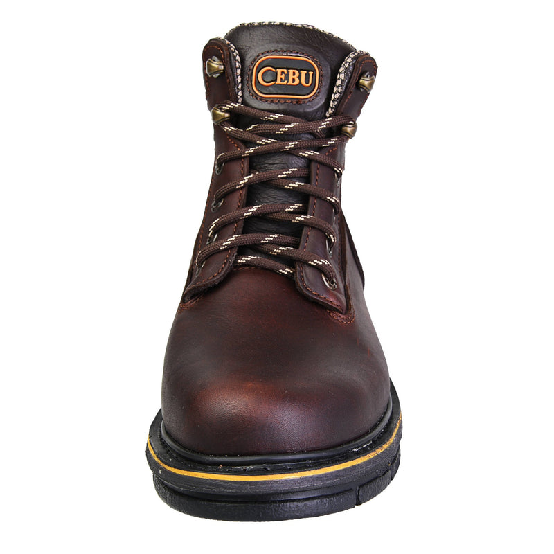 "Men's Work Boots - Steel Toe & Versatile - Brown Work Boots - Cebu - 6"" Work Boots - Brown 6in Work Boots"