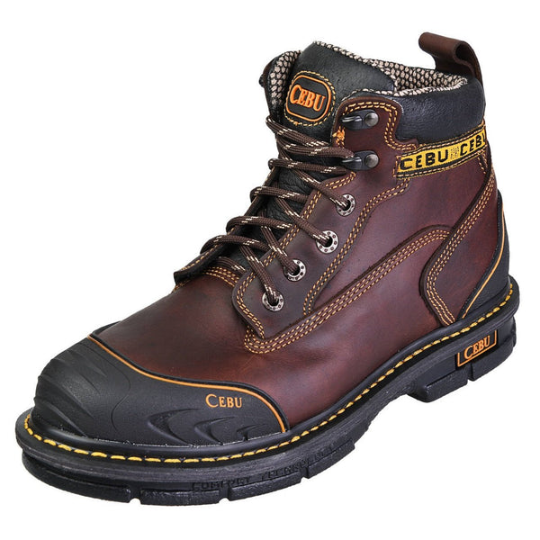 "Men's Work Boots - Steel Toe & Rubber Shield - Brown Work Boots - Cebu - 6"" Work Boots - Brown 6in Work Boots"