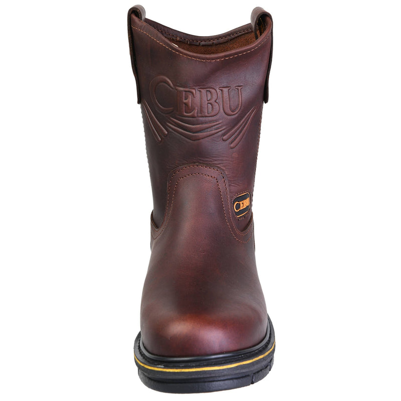 Men's Work Boots - Steel Toe & Versatile - Brown Work Boots - Cebu - Pull On Work Boots - Brown Wellington Work Boots