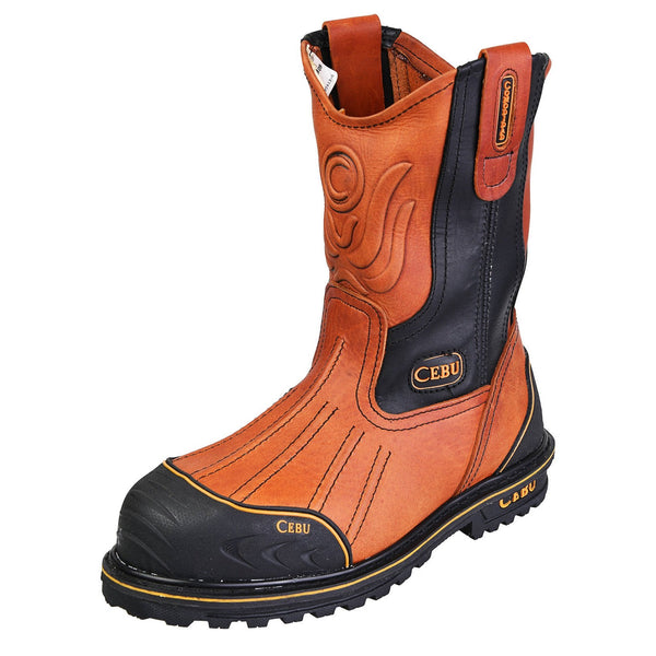 Men's Work Boots - Steel Toe & Rubber Shield - Tan Work Boots - Cebu - Pull On Work Boots - Honey Wellington Work Boots