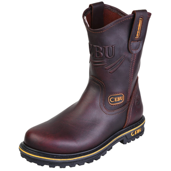 Men's Work Boots - Steel Toe & Heavy Duty - Brown Work Boots - Cebu - Pull On Work Boots - Brown Wellington Work Boots