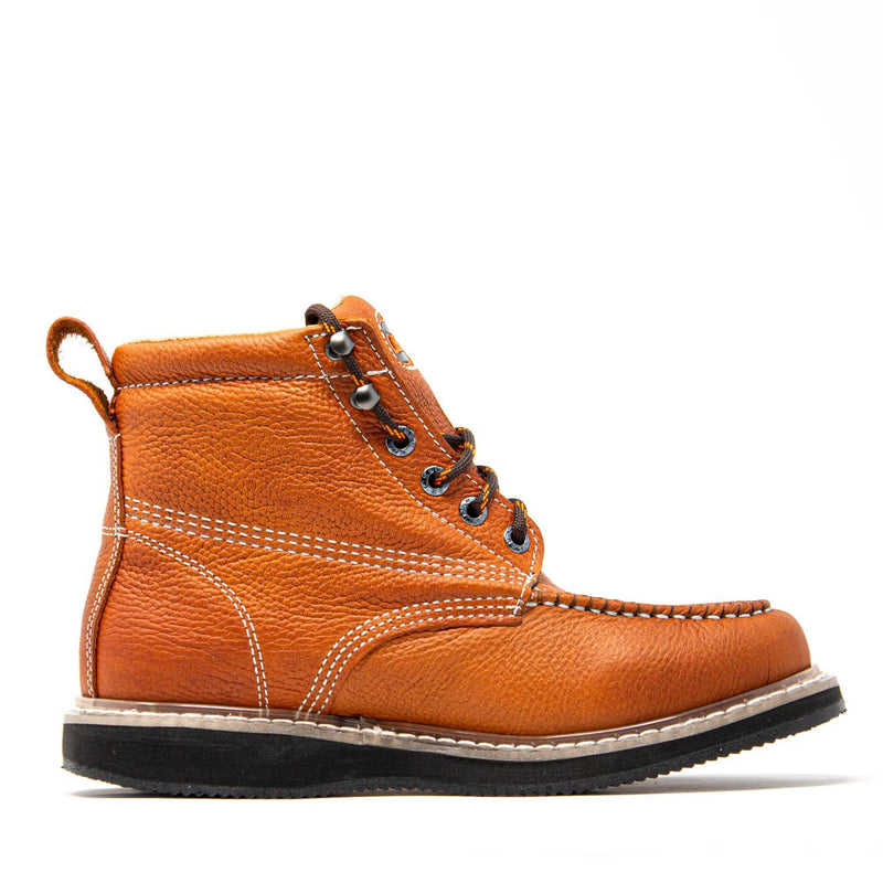 "Men's Work Boots - Wedge Sole - Tan Work Boots - Cebu - 6"" Work Boots - Tan 6in Work Boots"