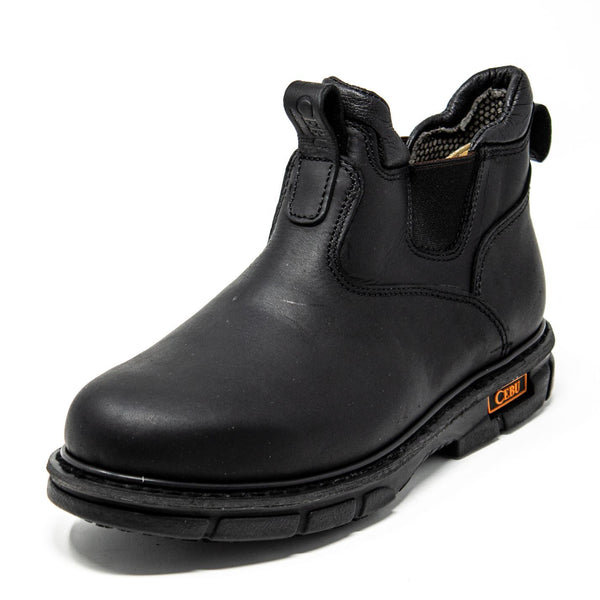 Men's Work Boots - Non Slip - Black Work Boots - Cebu - Slip On Work Boots - Black Ankle Work Boots