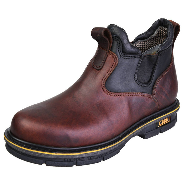 Men's Work Boots - Slip On & Versatile - Brown Work Boots - Cebu - Slip On Work Boots - Brown Ankle Work Boots