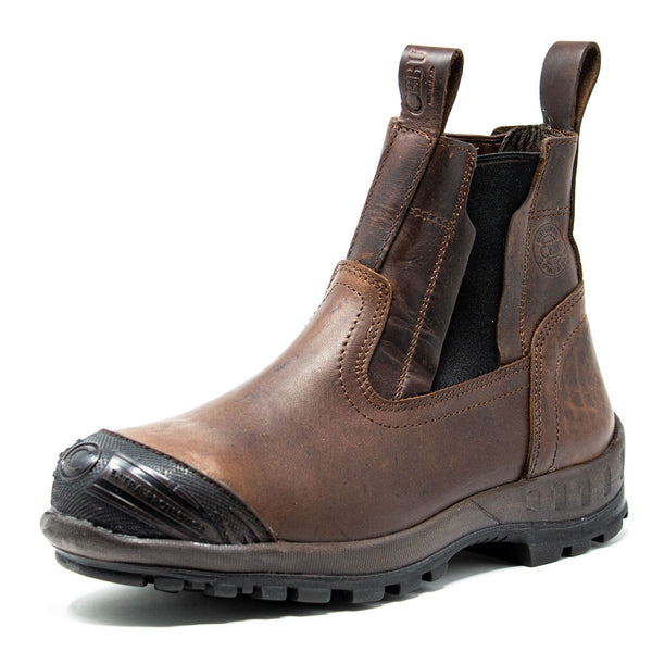 Men's Work Boots - Steel Toe & Rubber Shield - Brown Work Boots - Cebu - Slip On Work Boots - Brown Ankle Work Boots