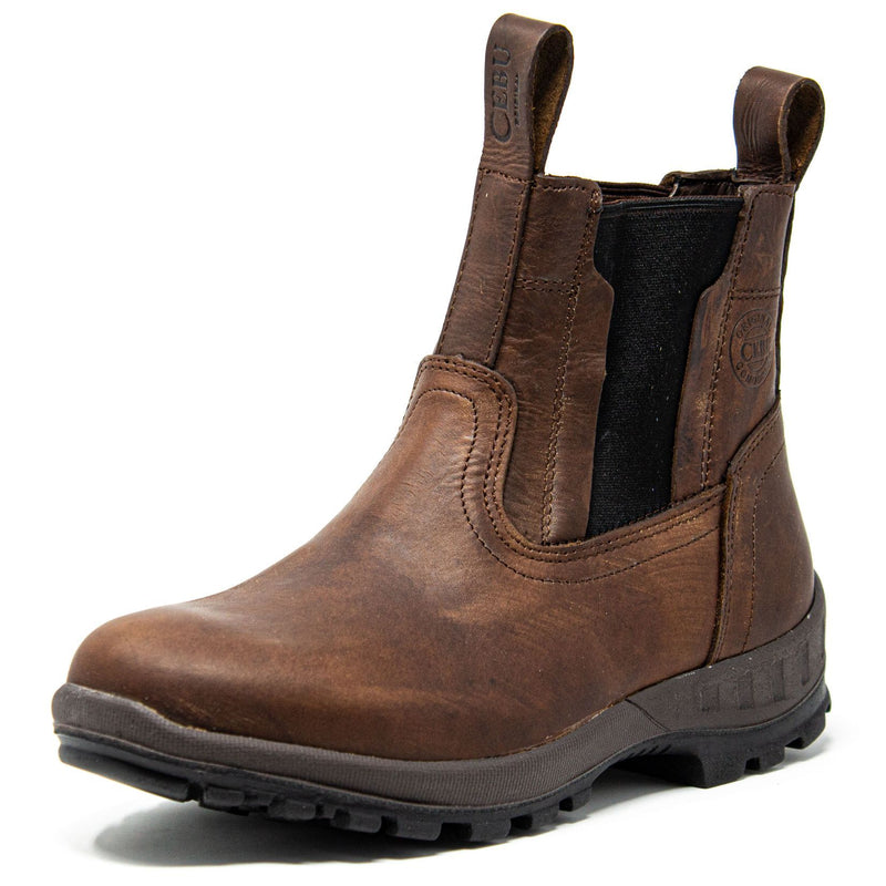 Men's Work Boots - Slip On & Lightweight - Brown Work Boots - Cebu - Slip On Work Boots - Brown Ankle Work Boots