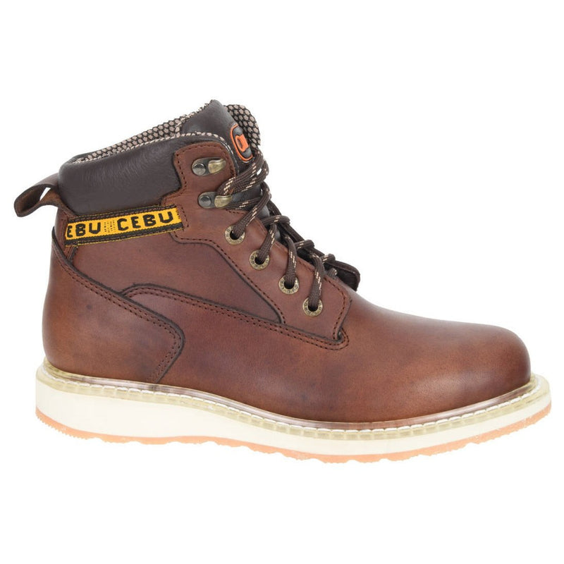 "Men's Work Boots - Wedge Sole - Brown Work Boots - Cebu - 6"" Work Boots - Brown 6in Work Boots"