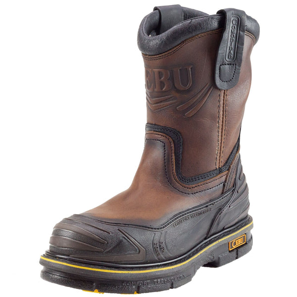 Men's Work Boots - Rubber Shield - Brown Work Boots - Cebu - Pull On Work Boots - Brown Wellington Work Boots