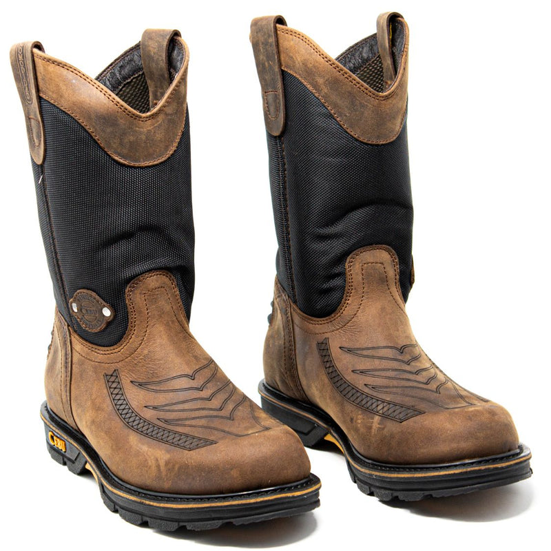 Men's Work Boots - Heavy Duty - Brown Work Boots - Cebu - Pull On Work Boots - Brown Wellington Work Boots