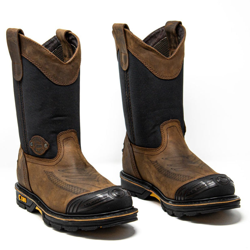 Men's Work Boots - Steel Toe & Breathable - Brown Work Boots - Cebu - Pull On Work Boots - Cafe Wellington Work Boots