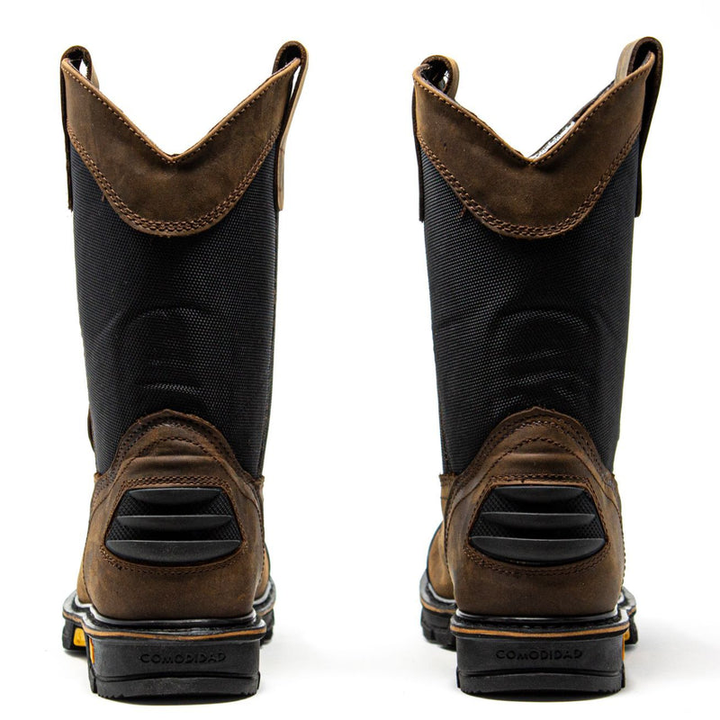 Men's Work Boots - Rubber Shield & Soft Toe - Brown Work Boots - Cebu - Pull On Work Boots - Cafe Wellington Work Boots