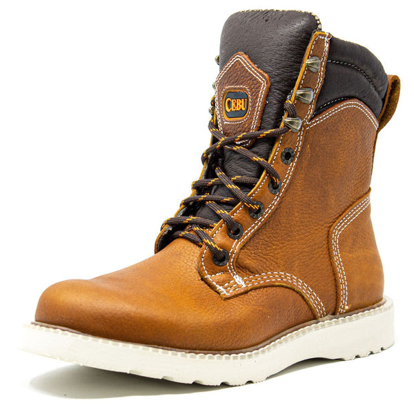 "Men's Work Boots - Lightweight - Tan Work Boots - Cebu - 8"" Work Boots - Tan 8in Work Boots"